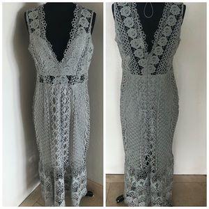 Lace awesome midi dress light teal size large🧚♀️